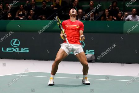 Spanish tennis players Rafa Nadal in action against British Jamie Murray and Neal Skupski during the third double match of the Davis Cup's semifinal between Spain and Great Britain at Caja Magica stadium in Madrid, Spain on 23 November 2019.