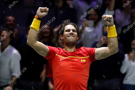 Spanish tennis player Rafa Nadal celebrated after win against British Jamie Murray and Neal Skupski during the third double match of the Davis Cup's semifinal between Spain and Great Britain at Caja Magica stadium in Madrid, Spain on 23 November 2019.