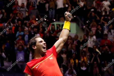 Stock Image of Spanish tennis player Rafa Nadal celebrated after win against British Jamie Murray and Neal Skupski during the third double match of the Davis Cup's semifinal between Spain and Great Britain at Caja Magica stadium in Madrid, Spain on 23 November 2019.