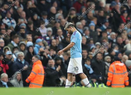 Manchester City's Sergio Aguero walks off the pitch after being substituted during the English Premier League match between Manchester City and Chelsea in Manchester, Britain, 23 November 2019.