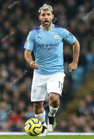 Manchester City's Sergio Aguero in action during the English Premier League match between Manchester City and Chelsea in Manchester, Britain, 23 November 2019.