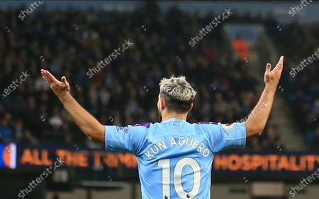 Manchester City's Sergio Aguero reacts during the English Premier League match between Manchester City and Chelsea in Manchester, Britain, 23 November 2019.