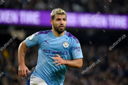 Manchester City's Sergio Aguero runs during the English Premier League soccer match between Manchester City and Chelsea at Etihad stadium in Manchester, England