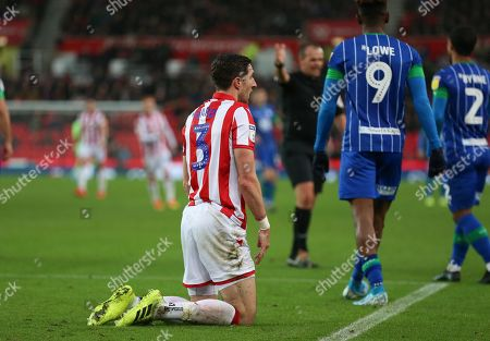Stoke City defender Stephen Ward (3) after being fouled during the EFL Sky Bet Championship match between Stoke City and Wigan Athletic at the Bet365 Stadium, Stoke-on-Trent