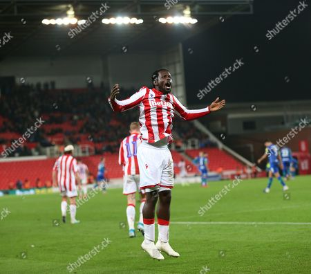 Stock Picture of Stoke City striker Mame Biram Diouf (18) celebrates after scoring during the EFL Sky Bet Championship match between Stoke City and Wigan Athletic at the Bet365 Stadium, Stoke-on-Trent