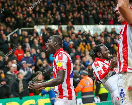 Stoke City striker Mame Biram Diouf (18) celebrates after scoring during the EFL Sky Bet Championship match between Stoke City and Wigan Athletic at the Bet365 Stadium, Stoke-on-Trent
