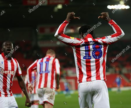 Stock Photo of Stoke City striker Mame Biram Diouf (18) celebrates after scoring  during the EFL Sky Bet Championship match between Stoke City and Wigan Athletic at the Bet365 Stadium, Stoke-on-Trent