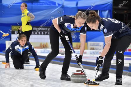 Scotland's Victoria Wright Jennifer Dodds in action Eve Muirhead (L) during the Women's final match between Scotland and Sweden at the European Curling Championships
