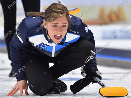 Scotland's skip Eve Muirhead in action during the Women's final match between Scotland and Sweden at the European Curling Championships