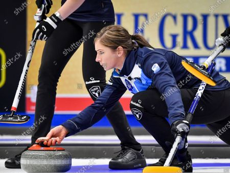 Stock Image of Scotland's skip Eve Muirhead in action during the Women's final match between Scotland and Sweden at the European Curling Championships