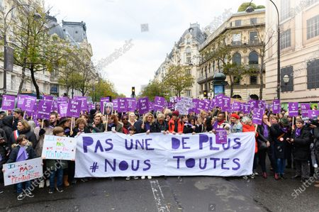 Sandrine Bonnaire, Eva Darlan, Alexandra Lamy, Muriel Robin, guests and Nadege Beausson Diagne march against domestic violence