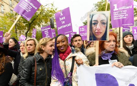 Sandrine Bonnaire, Nadege Beausson-Diagne and Eva Darlan march against domestic violence