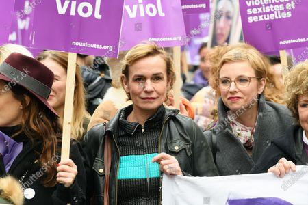 Sandrine Bonnaire and Clementine Autain. march against domestic violence