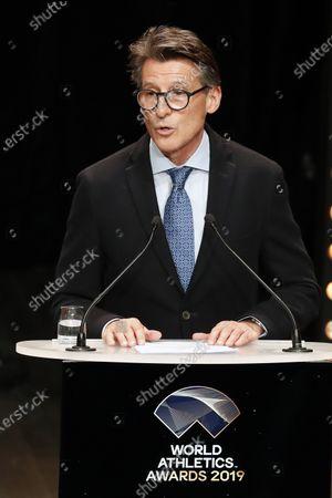 Stock Image of IAAF President Sebastian Coe speaks during the IAAF Athletes of the Year Award Ceremony at the Grimaldi Forum in Monaco, 23 November 2019.