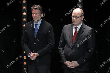 IAAF President Sebastian Coe (L) and Prince Albert II of Monaco (R) during the IAAF Athletes of the Year Award Ceremony at the Grimaldi Forum in Monaco, 23 November 2019.