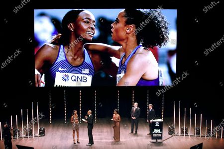 World 400m hurdles champion Dalilah Muhammad (C-L) of USA receives the Female Athlete of the Year award during the IAAF Athletes of the Year Award Ceremony at the Grimaldi Forum in Monaco, 23 November 2019.