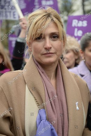 Julie Gayet during the demonstration about violence against women and to stop feminicide, following the call of the collective Nous Toutes  Several thousand people marched from the Place de l'Opera to the Place de la Republique in Paris against sexual and sexual violence
