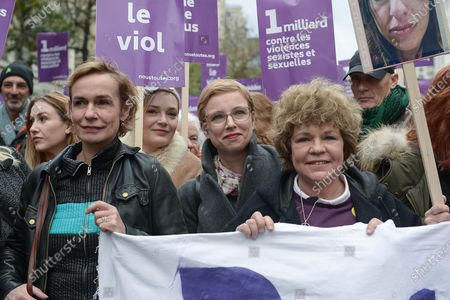 Sandrine Bonnaire, Clementine Autain of LFI Party and Sabine Paturel, during the demonstration about violence against women and to stop feminicide, following the call of the collective Nous Toutes Several thousand people marched from the Place de l'Opera to the Place de la Republique in Paris against sexual and sexual violence