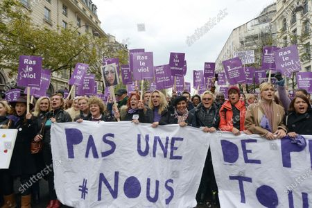 Stock Photo of Sandrine Bonnaire, Clementine Autain of LFI Party, Sabine Paturel, Eva Darlan, Alexandra Lamy, Najat Vallaud-Belkacem, Muriel Robin, Julie Gayet and Emma Decaunes during the demonstration about violence against women and to stop feminicide, following the call of the collective Nous Toutes Several thousand people marched from the Place de l'Opera to the Place de la Republique in Paris against sexual and sexual violence