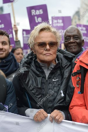 Muriel Robin during the demonstration about violence against women and to stop feminicide, following the call of the collective Nous Toutes  Several thousand people marched from the Place de l'Opera to the Place de la Republique in Paris against sexual and sexual violence