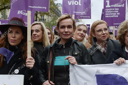 Sandrine Bonnaire and Clementine Autain of LFI Party during the demonstration about violence against women and to stop feminicide, following the call of the collective Nous Toutes Several thousand people marched from the Place de l'Opera to the Place de la Republique in Paris against sexual and sexual violence