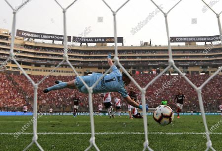 River Plate goalkeeper Franco Armani concedes a goal during the Copa Libertadores 2019 final soccer match between Flamengo and River Plate, at Monumental stadium in Lima, Peru, 23 November 2019.