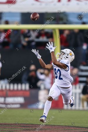 San Jose State Spartans wide receiver Isaiah Hamilton (82) catches a deep pass during the NCAA Football game featuring the San Jose State Spartans and the UNLV Rebels at Sam Boyd Stadium in Las Vegas, NV. The UNLV Rebels defeated the San Jose State Spartans 38 to 35