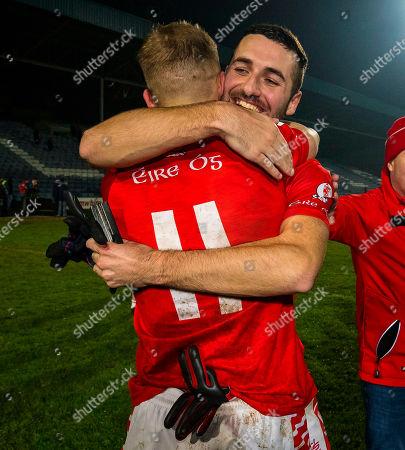 Portlaoise (Laois) vs Eire Og (Carlow). Eire Og's Darragh O'Brien and Christopher Blake celebrate after the game