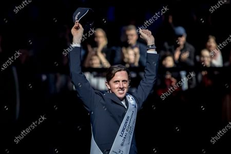 Stock Photo of Ben Maher of Britain celebrates winning the Longines Global Champions Tour Super Grand Prix competition in Prague, Czech Republic, 23 November 2019.