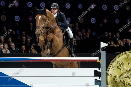 Stock Image of Ben Maher of Great Britain rides his horse 'Explosion W' during the Longines Global Champions Tour Super Grand Prix competition in Prague, Czech Republic, 23 November 2019.