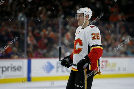 Calgary Flames' Michael Stone plays during an NHL hockey game against the Philadelphia Flyers, in Philadelphia