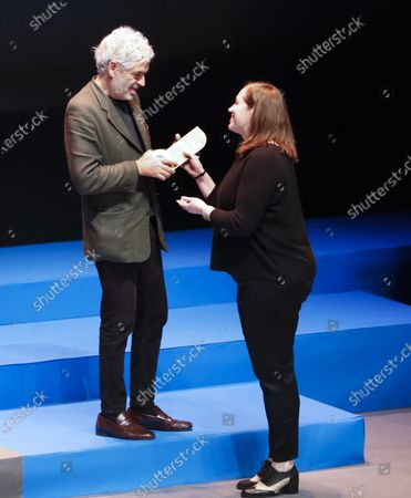 Stock Image of Pedro Costa (L) attends the closing gala of the 57th edition of the Gijon International Film Festival, in Gijon, Asturias, northern Spain, 23 November 2019. The film 'Vitalina Varela' by Pedro Costa received the Best Film and Best Photography Director awards. Others are not identified.