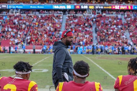 Stock Photo of USC Trojans coach Greg Burns during the UCLA Bruins vs USC Trojans football game at United Airlines Field at the Los Angeles Memorial Coliseum on (Photo by Jevone Moore)