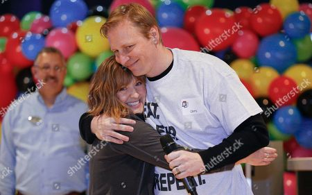 Stock Image of IMAGE DISTRIBUTED FOR MAIN EVENT ENTERTAINMENT - Founder of The Birthday Party Project Paige Chenault, left, and Main Event CEO Chris Morris share a moment before welcoming more than 300 children and their families to Main Event in Grapevine, Texas. Over the past seven years, The Birthday Party Project has celebrated more than 10,000 birthdays with over 58,000 children in attendance. The Birthday Party Project and Main Event are partnering together to bring celebrations to the 43 centers nationwide beginning in 2020