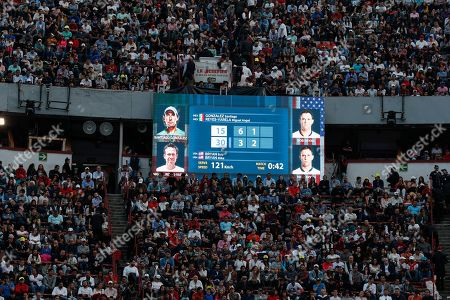 Stock Picture of Fans sit in the stands during an exhibition doubles tennis match between brothers Bob and Mike Bryan of the U.S. and Mexico's Miguel Angel Reyes Varela and Santiago Gonzalez, in the Plaza de Toros bullring in Mexico City, . Roger Federer of Switzerland and Germany's Alexander Zverev were also to face off in the converted bullring Saturday, the fourth stop in a tour of Latin America by the tennis greats