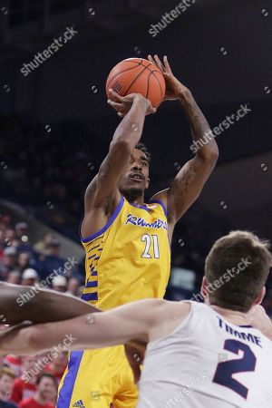 Stock Photo of Cal State Bakersfield forward Greg Lee (21) shoots during the second half of an NCAA college basketball game against Gonzaga in Spokane, Wash., . Gonzaga won 77-49