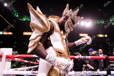 Deontay Wilder of the USA prepares to fight in a World Boxing Council World Heavyweight Championship fight at the MGM Grand Garden Arena in Las Vegas, Nevada, USA, 23 November 2019.