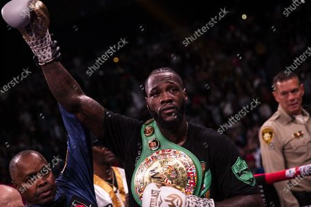 Deontay Wilder of the USA celerbrates his victory against Luis Ortiz II of Cuba folling a World Boxing Council World Heavyweight Championship fight at the MGM Grand Garden Arena in Las Vegas, Nevada, USA, 23 November 2019.