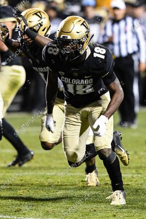 Colorado Buffaloes wide receiver Tony Brown (18) runs a route against Washington in the first half at Folsom Field in Boulder, CO