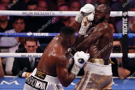 Stock Photo of Deontay Wilder of the US (R) in action against Luis Ortiz II of Cuba during their WBC World Heavyweight Championship fight at the MGM Grand Garden Arena in Las Vegas, Nevada, USA, 23 November 2019.