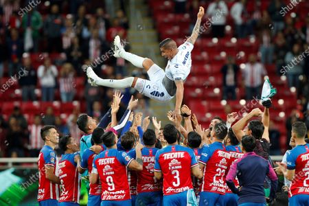 Stock Image of Chivas' throw their former teammate Carlos Salcido of Veracruz into the air after the Liga MX soccer match Chivas de Guadelajara vs Veracruz at the Akron Stadium in Guadalajara, Mexico, 24 November 2019.