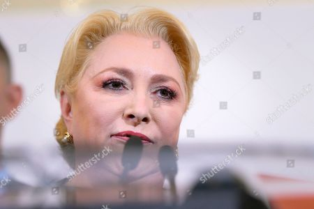 Stock Image of Social Democratic Party leader Viorica Dancila delivers a speech after exit polls were published, in Bucharest, Romania, . An exit poll by the IRES independent think tank predicted incumbent President Klaus Iohannis getting 66.5 % of the votes, with 33.5% for Social Democratic Party leader Viorica Dancila, a former prime minister