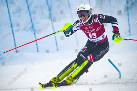 Laurie Taylor of Great Britain in action during the first run of the men's Slalom race at the FIS Alpine Skiing World Cup in Levi, Finland, 24 November 2019.