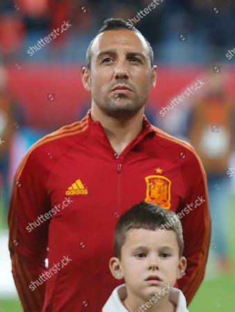 Spain's Santi Cazorla stands on the pitch during the national anthems before a Euro 2020 Group F qualifying soccer match between Spain and Malta at the Ramon de Carranza stadium in Cadiz, Spain
