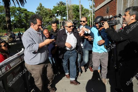 Uruguayan former president Jose Mujica (C) arrives to cast his vote at a polling station in Montevideo, Uruguay, 24 November 2019. Uruguay holds the second round of the presidential elections.