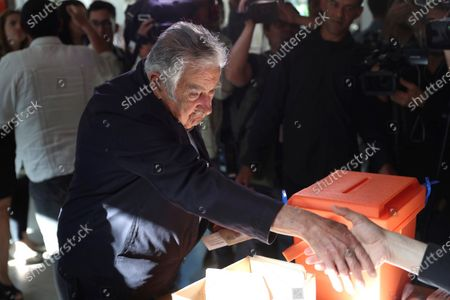 Uruguayan former president Jose Mujica casts his ballot at a polling station in Montevideo, Uruguay, 24 November 2019. Uruguay holds the second round of the presidential elections.