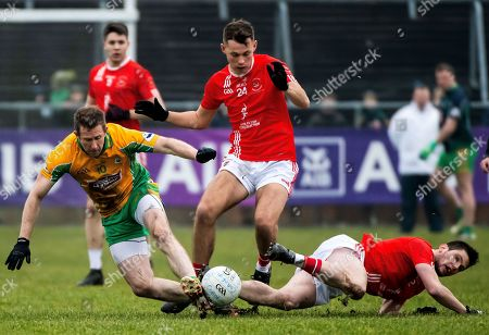 Stock Photo of Corofin (Galway) vs Padraig Pearses (Roscommon). Corofin's Gary Sice with Tom Butler and Shane Carty of Padraig Pearses