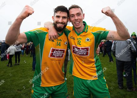 Corofin (Galway) vs Padraig Pearses (Roscommon). Corofin's Martin Farragher and Jason Leonard celebrate after the game