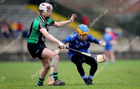 Stock Picture of Clanmaurice (Kerry) vs Raharney (Westmeath). Clanmaurice's Liz Houlihan and Hannah Core of Raharney