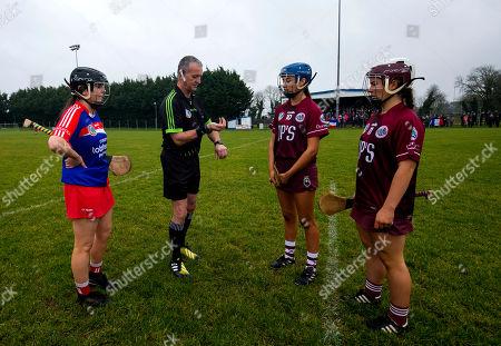Denn (Cavan) vs Na Brideoga (Mayo). Referee Mike Ryan at the coin toss with Na Brideoga captain Eleanor Harrison and Denn's Sophie Slowey and Shanise Fitzsimons